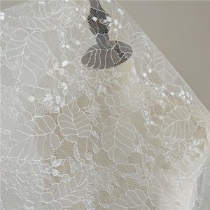 Ribbon Selling LVORY French Sequins Polyester Embroidery Tulle Lace Fabric Wedding Dress 5 Yards Lot