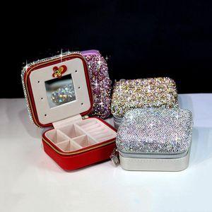 Fashion Diamond Crystal Mini Jewelry Box Petite Travel Portable Cosmetic Case Earring Ring Storage Makeup Organizers Boxes & Bins