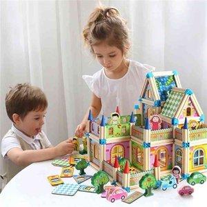 Creative 128 / 268pcs Diy Doll House с мебелью детей взрослый миниатюрный кукольный домик деревянные комплекты игрушки 201217