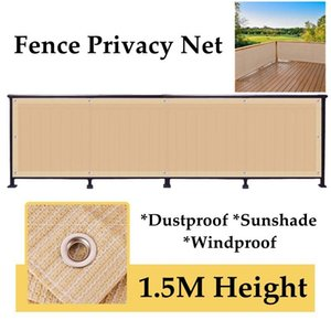 Shade Beige 1.5M Height Balcony Privacy Screen Fence Mesh Sunshade Anti-UV Wind Protection Net Patio Backyard