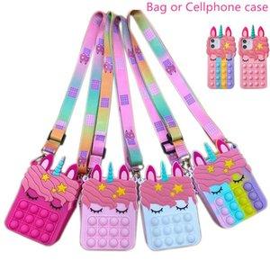 Fidget Sensory Bubble Bretelle Shoulder Bag Cellphone Case Finger Push Pouch Case Change Coin Purse Decompression Unicorn Popping Toys for Girls Kids