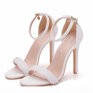 2019 White Pearl Bridal Wedding Dress Sandals with Buckle Straps Thin Heel Open Toe Summer Sandals Girl Evening Party Pumps