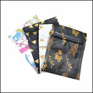 Wrap Event Festive Party Supplies Home & Garden100Pcs Lot Pattern Design Aluminum Foil Package Bag Mylar Festival Gift Snack Dried Flower St