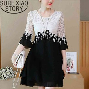 Dress Women Plus Size Lace Office Lady A-Line Patchwork Three Quarter Tassel White Fashion Clothes Vestidos 2777 210510