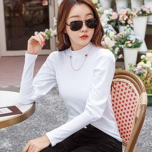 Design Chain Pure Color T-shirt Women's 2021 Spring Dress Korean Style Slim Fit Bubble Sleeve Top Bottom Coat
