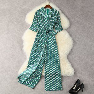 2021 Summer 1 2 Half Sleeve Notched-Lapel Green Geometric Print Belted Long Ankle-Length Jumpsuits Elegant Casual Rompers 21Q1812459
