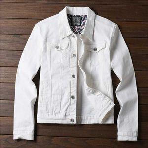 Spring Autumn Red White Black Yellow Army Green Jeans Jacket Men Slim Streetwear Denim Jacket Hip Hop Bomber Homme