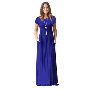 Летнее платье Женщины Royal Blue 8 Цветов S 2XL Плюс Размер Длинные Платья Весна Короткие Карманные Карманы Chic V Шея