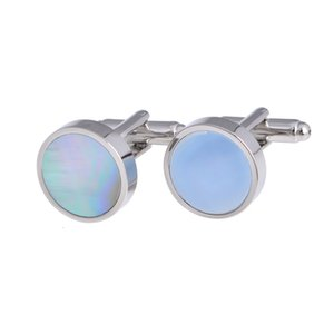 Wholesale natural pearl shell blank cufflinks and tie clip
