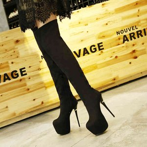 16cm Red Bottom Heels Black Synthetic Suede Platform Over The Knee Thigh High Boots Size 34 To 40