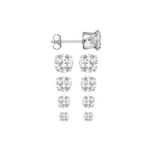 Set Of 4 Sizes .925 Classic Sterling Silver 3.75 Ctw Round Cz Men Women Ear Stud Earring Hoop & Huggie