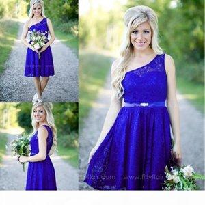 2017 Royal Blue Garden Short Lace Bridesmaid Dresses Country One Shoulder Mini Dress Cheap Party Dresses Junior Cheap Bridesmaid Dresses