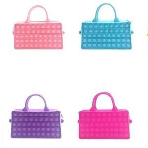 Kids Rainbow Handbag Push Poo-its Children's Fashion Pioneer Bubble Decompression Toy Double-sided Cosmetic Bag Tie Dye Portable Hand Bags G873SGI