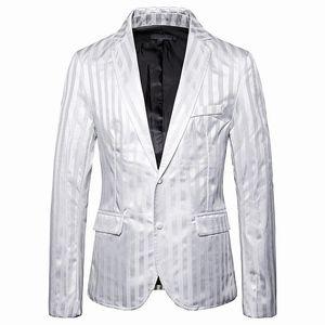 Luxury Men Office Blazer Jacket Fashion Striped Mens Suit Jacket Black White Wedding Dress Coat Casual Business Male Suit Coat