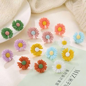 Korean Style Cute Small Flower Daisy Stud Earrings For Women Jewelry Sweet Candy Girl Gift Fashion Brincos