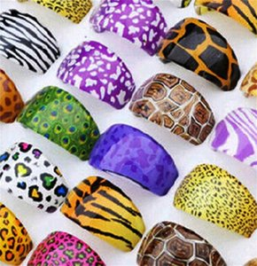 Resin Men Women Band Ring Jewelry Color Painting Multicolored Purple Leopard Tiger Pattern Lady Nail Rings Versatile 0 75qm J2B