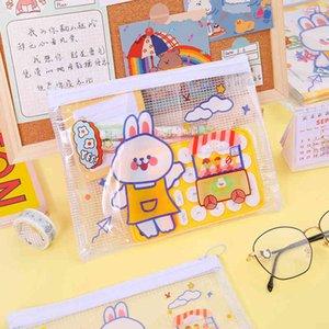 Cute Cartoon File Bag Ring Zipper Pvc Transparent Student Test Paper Storage Sorting Information