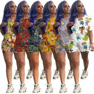 Женские трексуиты летние женщины одежда 2 двух частей набор наборных повседневных треков с коротким рукавом футболка для футболки с коротким рукавом Biker Corts Sportswear Plus
