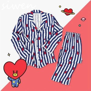 Women Designers Clothes BTS Cute Cartoon Q Printed Light Long Sleeve Pajamas Suit Home Clothing Two Piece Outfits 2020 New DHL