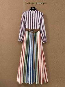 European popular positioning colour stripe print dress with original custom belt