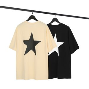 T-shirt de los hombres Sientir de Dios Fog Essentials Doble Línea Cinco puntiagudo Star Tendencia suelta High Street y WO Manga corta G4HY