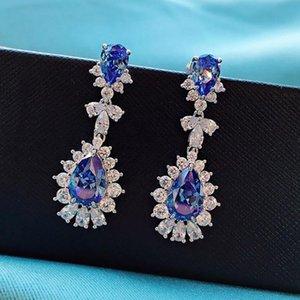 Dangle & Chandelier Luxury 925 Sterling Silver 8*12mm Sapphire Gemstone Full High Carbon Diamond Wedding Party Drop Earring For Women Fine J