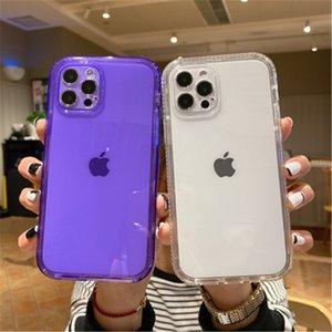 Custodie per telefono anti-caduta di colore trasparente a due in-one per iPhone 6 7 8 Plus 11 12 Pro Max XR XS