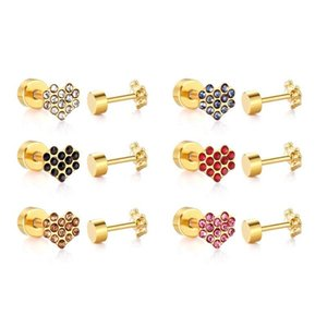 LUXUKISSKIDS Jewelry 12pairs Lot Heart Crystal Stainless Steel Earrings Set For Women Gold Screw Back Stud Earing brincos