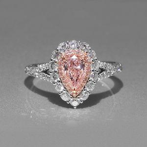 Розовый Teardrop CZ Diamond Wedding Подарочное кольцо 925 Стерлинговые серебристые падения водяных колец Кольца Воды Розничная коробка набор для женщин WJL0986