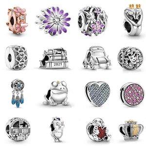 100% 925 Sterling Silver Artist's Palette Dangle Charm Frog Prince Watering can & trowel strap Fit Pandora Bracelet Diy Women Jewelry