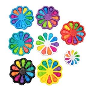 20PCS DHL Fidget Toys 15CM Rainbow Flower Bubble Poppers Board Sensory Push Bubbles Sunflower Squeeze Puzzle Vent Ball Simple Dimple Toy H483MSY