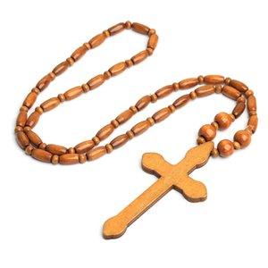 Натуральные деревянные бусины крест бусины ожерелье хип-хоп Harajuku темный панк-религиозное деревянное ожерелье
