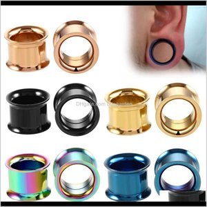 Plugs & Tunnels Body Drop Delivery 2021 Shellhard Punk Plug Stainless Steel Screw Gauges Double Flared Ear Flesh Tunnel Expanders Piercing Je