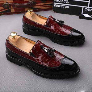 Hot Sale-British Luxury Men Oxford Dress Shoes Spring Summer PU Leahter Loafers Elegant Tassel Men Flats Business Wedding Shoe