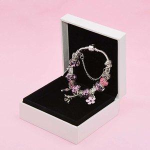 Очаровательная башня кулон Браслет для Pandora Platinum Diy Beiced Lady элегантный с оригинальной коробкой для отдыха подарок кружева браслеты ручной цепочки