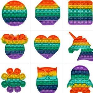 Multi Shapes Rainbow Push Bubble Fidget Toys Bubbles Popper Cartoon Owl Flower Unicorn Sensory Squeeze Broad Game Desktop Puzzle Stress Relief H41PFRJ