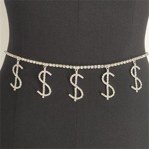 Dolar Sembolü Elmas Bel Kadın Plaj Charm Bikini Belly Seksi Vücut Zinciri Takı 1001 Q2