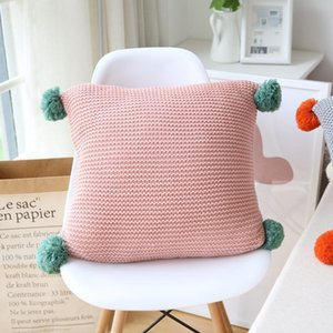 Pink Grey Nordic Style Cushion Cover With Plush Ball Knitted Sofa Bedding Decorative Pillows Housse De Coussin 45*45cm Cushion Decorative Pi