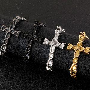 Link, Chain Golden Black Stainless Steel Cross Charm Men's Bracelets 7MM Link Pulseira Masculina Bracelet Man Religious Jewelry Gift