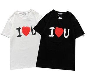 Летние Роскошь Прибытие Мужчины Женщины Футболка Рубашки с красным сердцем Печатные Повседневные Высококачественные Модные Tees Streetwear