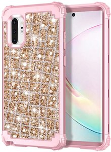 Bling Rose Gold Case for Note 10 Plus 3D Luxury Sparkle Glitter Shiny Heavy Duty Hybrid Sturdy Defend High Impact Shockproof Protective Cover