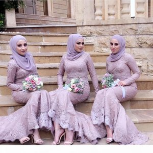 New Arrival Elegant Purple Muslim Mermaid Bridesmaid Dresses Lace Long Sleeves Bead Maid of Honor Dress Prom Evening Gowns Formal Custom