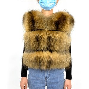Women's Fur & Faux Women Real Coat Raccoon Vest 7XL Gilet Short Thick Fluffy Natural