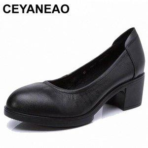 CEYANEAO 2019 Genuine leather women high heels pumps female OL COMFORTABLE black work shoes 34-41E1927 d76M#