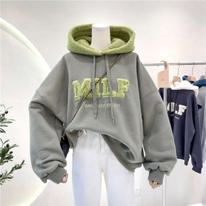 hoodies Letter Stitching Lamb Hair Cashmere Hooded Sweater Winter Loose And Lazy Wind Coat Female Cotton Sweatshirt Pullover Woman