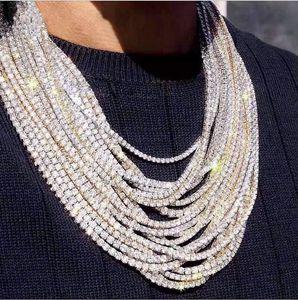 2021 Top Verkauf von Hip Hop Funkelnd Luxus Schmuck Euro Out Ketten Eine Reihe Tennis High Qulaity Weißgold Füllung Frauen Männer Kristall Halskette Geschenk