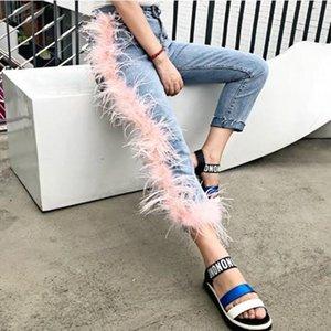 Women's Jeans Women High Waist Tassels Patchwork Female Pants Pink Feather Hair Asymmetric Irregular