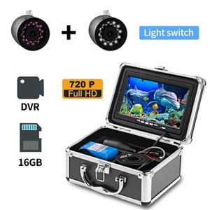 Fish Finder Erchang Double Lamp 24 LEDS 7'' 15m Underwater Fishing Camera+1280*720 HD Monitor With Videro Recording 16G SD Card