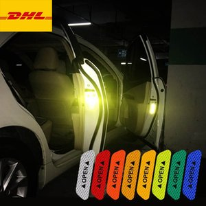4Pcs Set Car Door Reflective Tape Safety Warning Anti-Collision Stickers OPEN Style Decals Automobiles Exterior Decor Parts DHL Free Freight