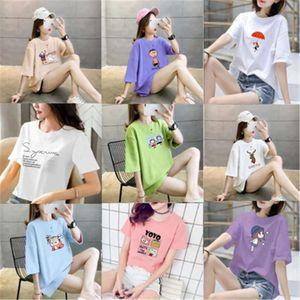T-shirt quick half dry Women's printed short sleeve fashionable summer night market bottom coat